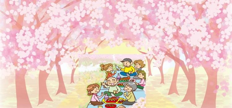 桜の下の花見客