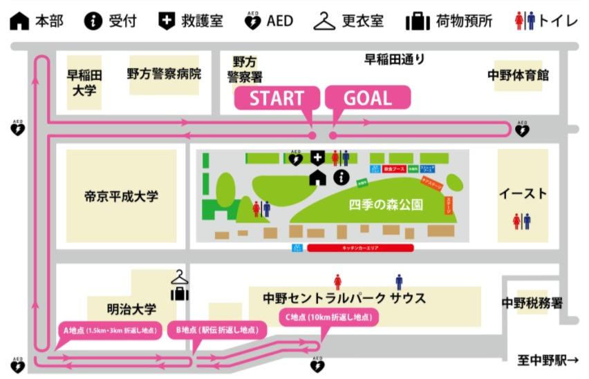 中野ランニングフェスタ2018会場案内図